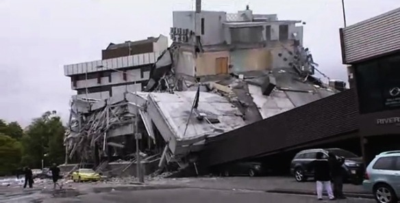 Collapsed buildings in Christchurch's CBD